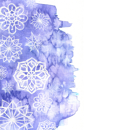 watercolor background of lilac with white snowflakes for new year and christmas for decoration and design on white background