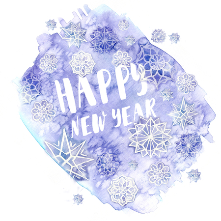 watercolor painting of watercolor blurred colors of lilac flowers in the form of ice with snowflakes for the new year and Christmas with the inscription Happy New Year, for decor and design of postc