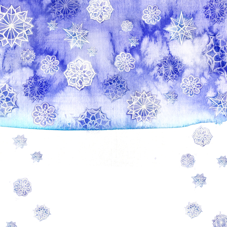 watercolor background of lilac with white snowflakes for new year and christmas, oblong with snowflakes, its snowing, for decoration and design