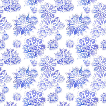 watercolor seamless background of lilac with white snowflakes for new year and christmas, oblong with snowflakes, its snowing, for decoration and design on white background, for design of greeting ca