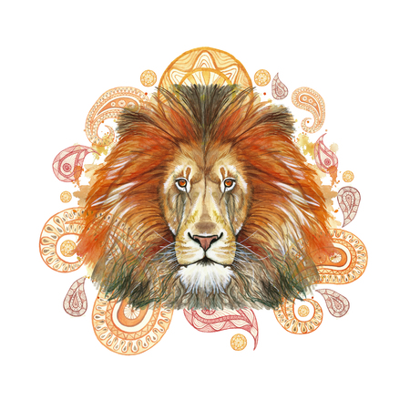 Watercolor drawing of an animal mammal predator, red lion, red mane, lion-king of beasts, portrait of greatness, strength, kingdom, india, Indian patterns, with elements of a