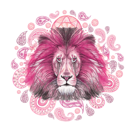 Watercolor drawing of an animal of a mammal predator, a pink lion, a pink mane, a lion-king of beasts, a portrait of greatness, strength, kingdom, india, Indian patterns, with elements of a