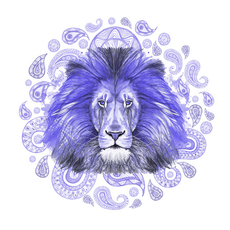 Watercolor drawing of an animal of a mammal predator, a blue lion, a blue mane, a lion-king of beasts, a portrait of greatness, strength, kingdom, india, Indian patterns, with elements of a Zdjęcie Seryjne