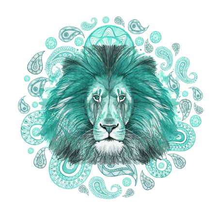 Watercolor drawing of an animal predator mammal, turquoise lion, turquoise mane, lion-king of beasts, portrait of majesty, strength, kingdom, india, Indian patterns, with elements of turkish cucumber on white background Stock Photo
