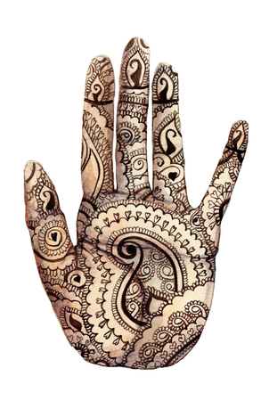 Watercolor drawing of a human hand, palms with a mehendi knot, Indian pattern, on the theme of holi, for decor and cards on a white background, print