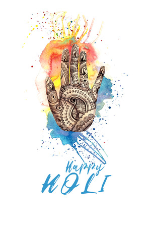 A watercolor drawing of a human hand, palms with a mehendi knot, an Indian pattern, with bright paint divorces and splashes on the theme of a holi festival, for decor and a postcard