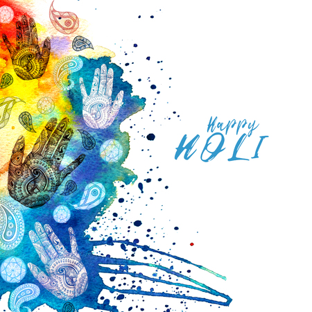 Watercolor drawing in Indian style, with patterns and ornament, turkish cucumber and human hand with a pattern of mihendi with bright paints, divorces and splashes for the holiday holi