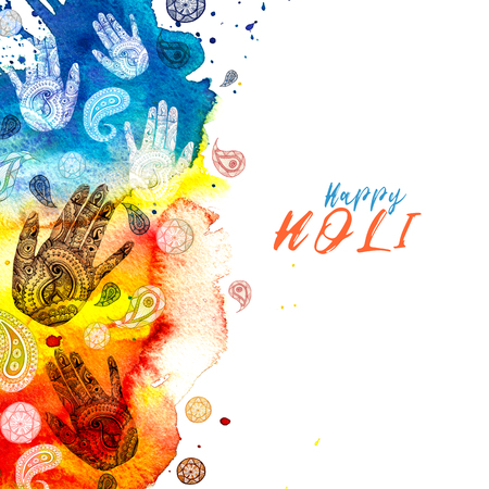 Watercolor drawing in Indian style, with patterns and ornament, turkish cucumber and human hand with a pattern of mihendi with bright paints, divorces and splashes for the holiday holi,