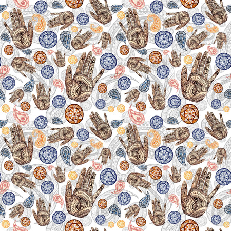 Watercolor seamless pattern on Indian theme, turkish cucumber in red and orange colors with human hands, palms with a pattern of mehendi, for decorating walls, fabric, printed products Zdjęcie Seryjne