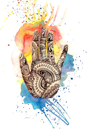A watercolor drawing of a human hand, palms with a mehendi knot, an Indian pattern, with bright paint divorces and splashes on the theme of a holi festival, for decor and a postcard Stock Photo - 93322147