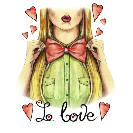 Watercolor drawing on the theme of Valentines Day, the girl kisses, red lips, holding a bow bow tie, shirt, valentine, heart on a white background with the inscription I love print, face, fashionable Zdjęcie Seryjne