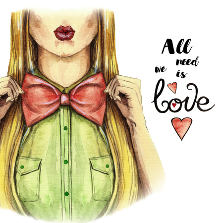 Watercolor picture on a Valentines day, girl kisses, red lips, holds a bow bowl, shirt, valentines, heart on a white background