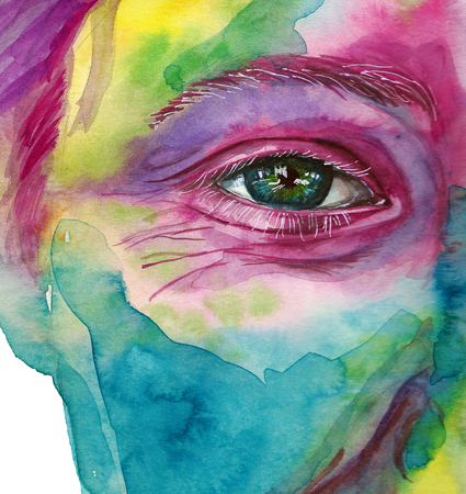 Watercolor drawing of a mans head smeared in paint, multi-colored face, portrait, opened eye, glare on iris eyes, on holiday holi, indian holiday, white background for decoration and decoration Zdjęcie Seryjne