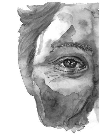 Watercolor drawing of a mans head is dirty in paint, multi-colored face, portrait, opened eye, glare on iris of the eye, on holiday holi, indian holiday, with element of splashed paint on white backg Zdjęcie Seryjne