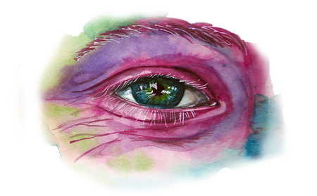 Watercolor drawing of a mans head smeared in paint, multi-colored face, portrait, opened eye, glare on iris eyes, on holiday holi, indian holiday, white background for decoration and decoration Stock Photo