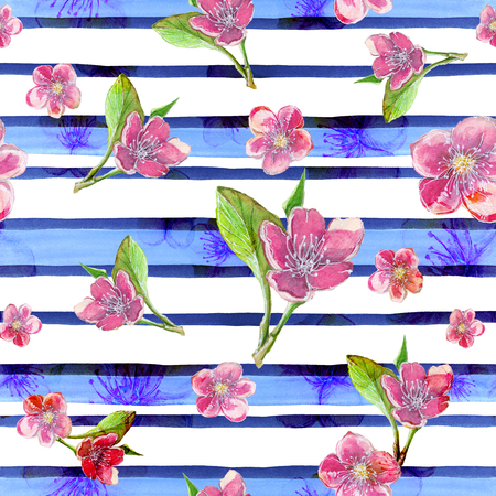 watercolor drawing seamless pattern on a theme of spring, female day, summer, sakura flowers on a background of blue stripes, abstraction for a decor of cards, business cards, cloths