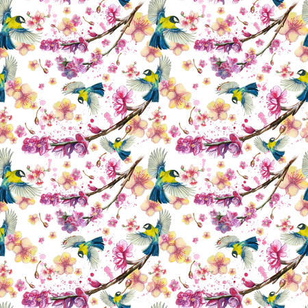 watercolor drawing seamless pattern on the theme of the spring, heat, illustration of a bird of a troop of passerine-shaped large tits flying, with open wings, feathers, with yellow breast and blue plumag