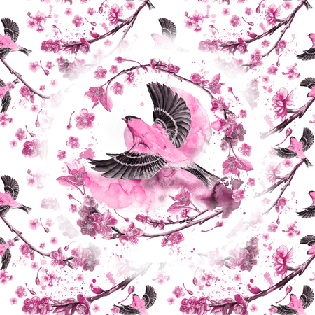 watercolor drawing seamless pattern on the theme of the spring, heat, illustration of a bird with a sparrow-like fleet of Orioles flying, with open wings, feathers, with yellow plumage, hyperrealism, with c Zdjęcie Seryjne