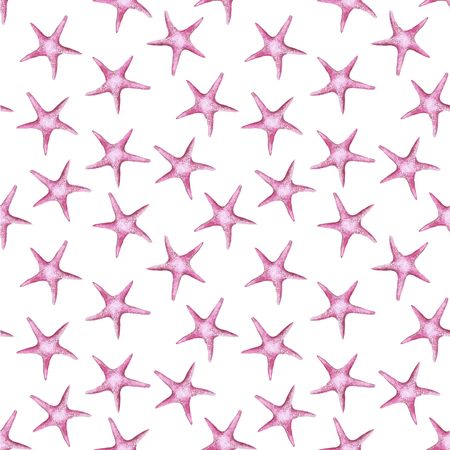 Picture of a watercolor pink color sea star invertebrate type echinoderms on a white background seamless background for print shop and design, children's pattern.