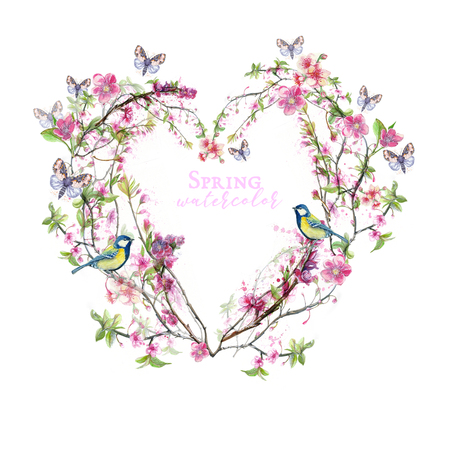 a watercolor print in the form of a heart made of cherry blossoms with petals, with birds tits sitting on the branches, butterflies fly in the theme of spring, womens day, for design