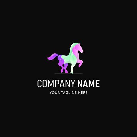 Gradient Horse Logo Design Professional, Colorful Horse Logo Modern Illustration