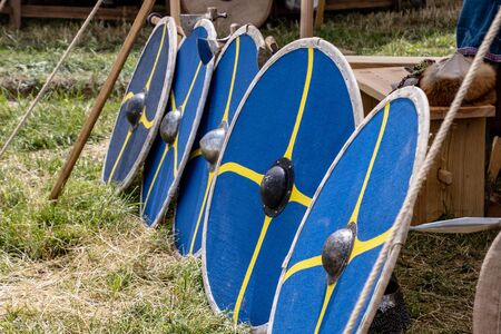 medieval shield on the forearm as protection against sword and arrows in a nice blue color in nature Stok Fotoğraf