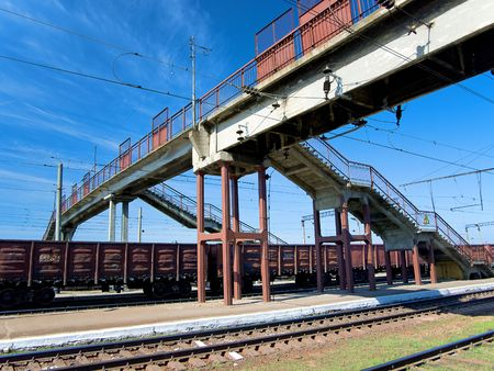 freightliner: Lot of cargo wagons in the train station