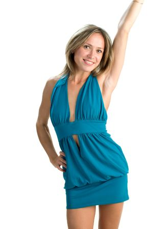 white woman with happy laughing facial expression raising up her arms Stock Photo - 6020843