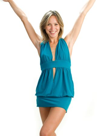 raises: white woman with happy laughing facial expression raising up her arms Stock Photo
