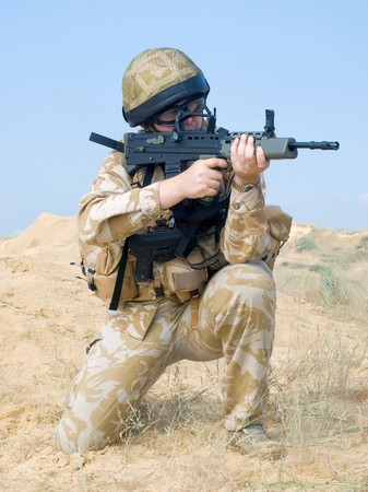 british army: British Royal Commando in action Stock Photo