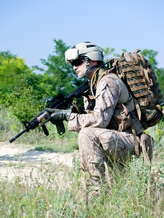 militant: us soldier with assault rifle