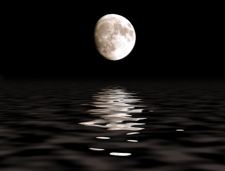 moonscape: Full moon over the ocean with lunar path. Craters are visible Stock Photo