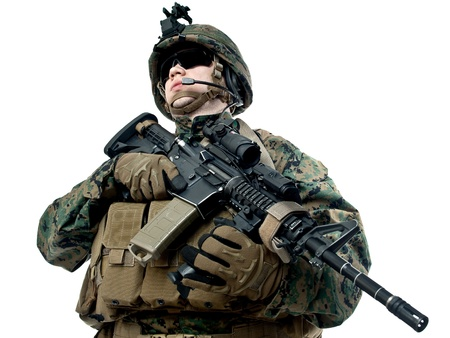 armed services: US soldier with rifle