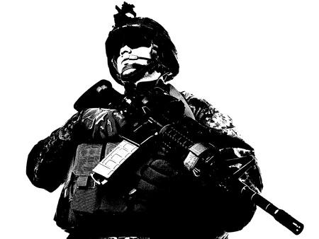 soldado: Soldado de EE.UU. con el rifle