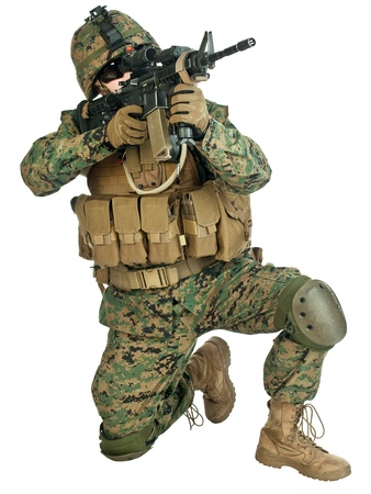 airborne: US soldier aiming his rifle