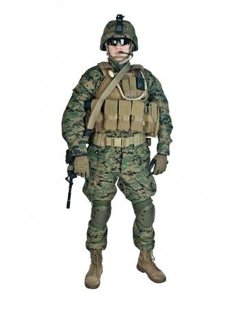 US-Soldat mit seinem Sturmgewehr auf weißem Hintergrund Standard-Bild - 13107178