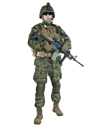 armed services: US soldier with his assault rifle on white background