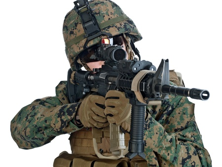 us soldier: US soldier aiming his assault rifle  White background Stock Photo