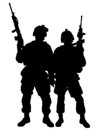 silhouette soldat: Silhouette de deux Marines am�ricains avec des fusils Banque d'images