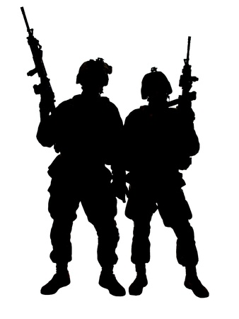 america soldiers: Silhouette of two US marines with rifles
