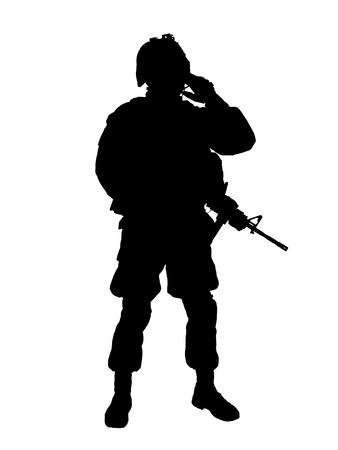silhouette soldat: Silhouette d'un soldat américain avec un fusil