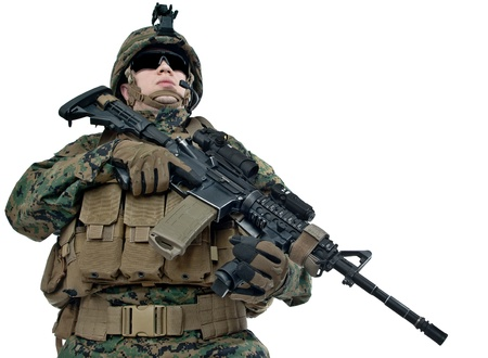 army soldier: Young US soldier with his rifle on white background
