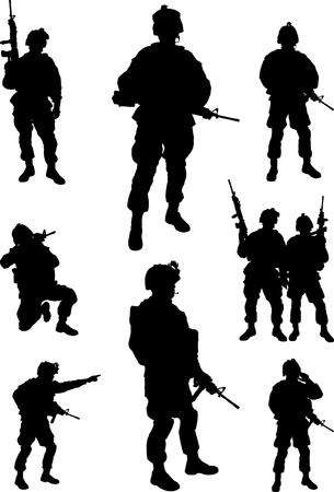 military silhouettes:  Army soldiers silhouette  Illustration