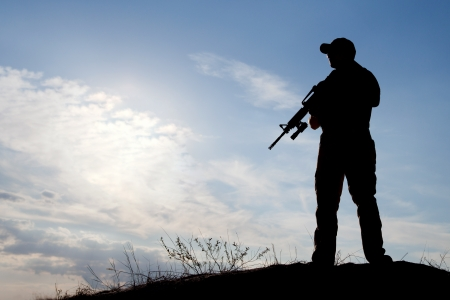 soldier silhouette: soldier against the sun