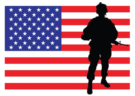special forces: illustration of an american soldier in front of the USA flag