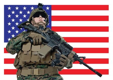 illustratie van een Amerikaanse soldaat in de voorkant van de vlag van de VS
