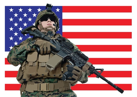 illustration of an american soldier in front of the USA flag Vector