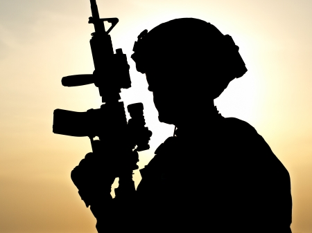 soldier silhouette: Defending the Motherland