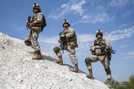 military special forces: US marines in the mountains during the military operation