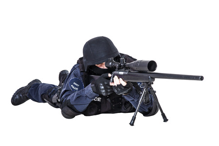 sniper rifle: Special weapons and tactics (SWAT) team officer with sniper rifle